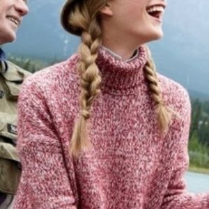 J CREW Marled Red Wool Blend Turtleneck Sweater M